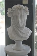 White Marble Female Sculpture Stone Carving Modern Lady Head Bust Statue