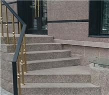 Granit Korall Deck Stair, Steps and Risers, Red Granite Stairs & Steps, Stair Cases
