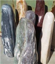 Polished Columns, Marble Monolith, Garden Rock Stone