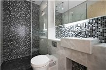 White Marble and Glass Mosaic Bathroom Design, Blanco Durango Marble Bath Design