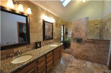 Giallo Fiorito and Noce Travertine Bathroom Stone Design