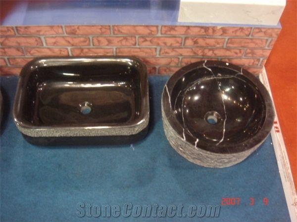 Natural Stone Bathroom Wash Sinks Kitchen Vessel Round