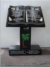Upright Granite Book Memorial, Hebei Black Granite Memorial