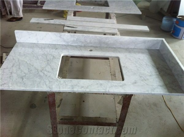 Delicieux Bianco Carrara C Marble Vanity Top,Carrara White Marble Bathroom Vanity Top,Bianco  Carrara Marble Bath Top With Square Basin Sink