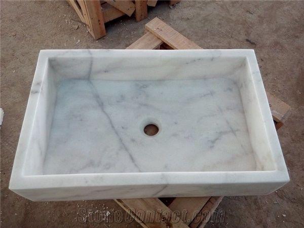 Bianco Carrara White Marble Sinks Basins Carrara White Marble Square Basins Italy White Marble