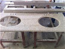 G682 Granite Vanity Top,G682 Rust Yellow Granite Double Sink Vanity Top,China Yellow Granite Countertop,G682 Granite Bath Top