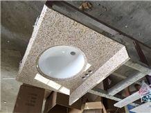 G682 Granite Vanity Top,Rusty Yellow Granite Bathroom Countertop, China Yellow Granite Bath Top