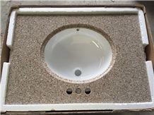 G682 Granite Vanity Top,Rusty Yellow Granite Countertop,Golden Yellow Granite Bathroom Top