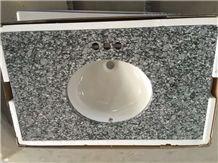 Spray White Granite Vanity Top,Sea Wave Flower Granite Vantity Tops,G708 Granite Bath Tops,China White Granite Bathrom Vanity Tops