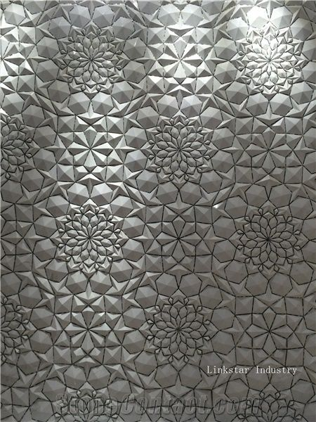 3d Nature White Embossed Marble Wallarrt Tile From China