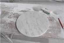 Bianco Carrara White Marble Round Countertop with Polished & Bevelled Edge