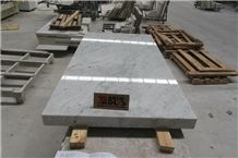 Italian Carrara White Marble Table Countertop Polished Edge Competitive Price,