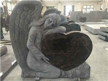 China Factory Direct Absolute Shanxi Black, Aurora Granite Angel with Heart Shape Monuments, Double Angel with Doubel Heart Hand Carved Headstone
