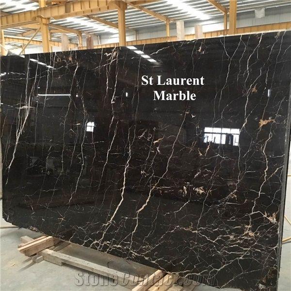 New Production Noir St Laurent Marble Tile Slab Negro St