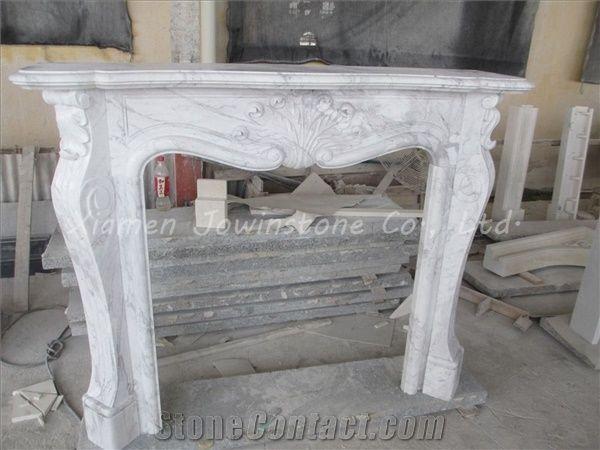 Polished White Marble Fireplace Mantel Hearth Design Surround Volakas British Style