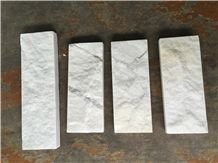 Milky Marble Mushroomed Wall Cladding Tiles, White Marble Mushroom Stone Tiles, Wall Cladding