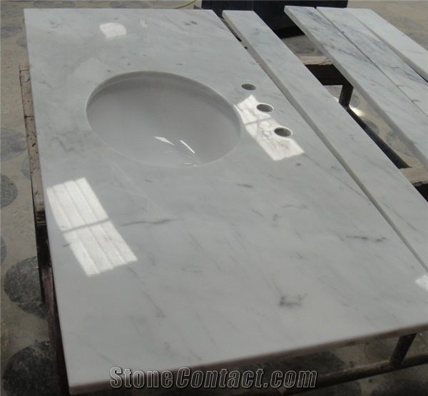 Bianco Carrara Marble Custom Vanity Tops, Italy Marble Bathroom Tops, White Marble  Vanity, Custom Vanity Tops