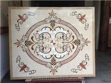 Waterjet Medallion,Ruschita Creme Rosa China Pink Granite Paver with Waterjet Cut Inlaid ,For Home Decoration Ivory Pink and White Marble Inlayed Medallion