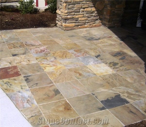 Indian Autumn Slate Tiles Flooring Multicolor Covering