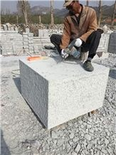 G341 Light Grey Granite Pineapple Surface Big Cube Stone Sitting Blocks for Parks and Gardens
