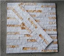 White Marble with Beige Marble Wall Stone Cladding, Corner Prices, Cultured Stone, Stacked Stone Veneer Walls, Ledge Stone Tile, Field Stone, Stone Backsplash