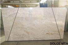 Dolce Vita Quartzite Tiles & Slabs, Beige Polished Quartzite Flooring Tiles, Walling Tiles