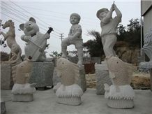 G682 Sunset Gold Granite & G603 Grey Granite Human Handcarved Sculptures /China Rust Granite Animal Landscape Sculptures