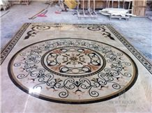 Lobby Floor Medallion Marble Water-Jet Pattern Hotel Lobby Floor Decor