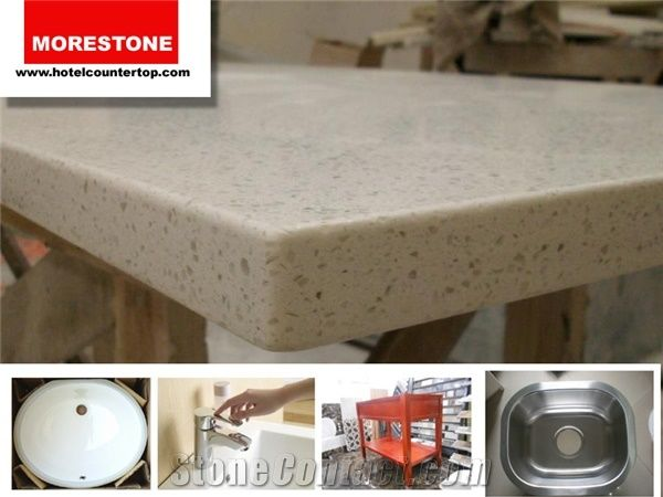 Flat Polished Edge Engineered Quartz Stone Counter Tops