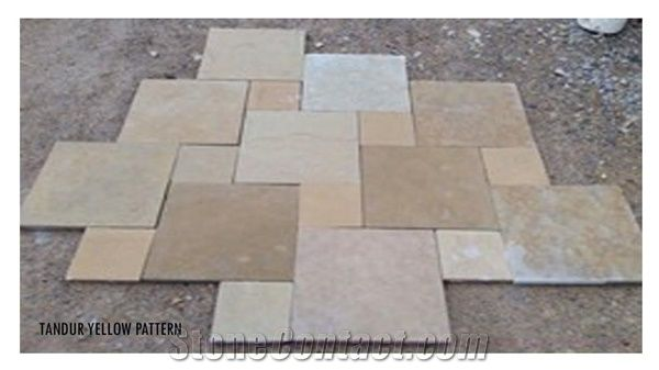 Tandur Yellow Limestone Pattern Tiles, Cube Stone, Pavers