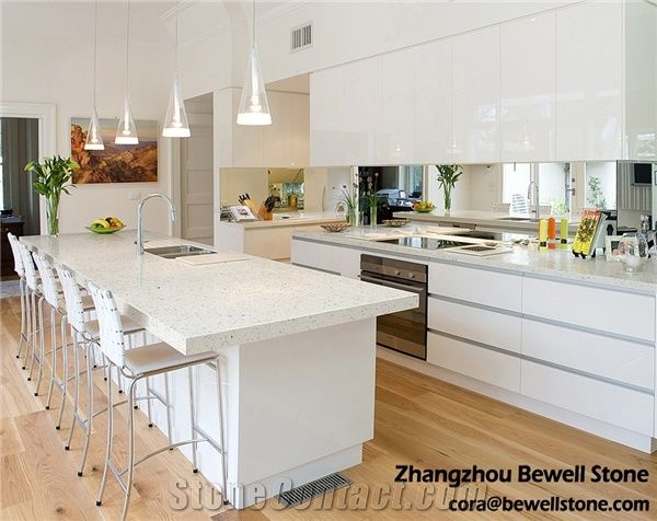 White Quartz Stone Kitchen Countertops, Quartz Kitchen ...