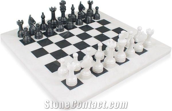 Black White Marble Chess Set