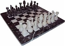 Black Zebra & White Marble Chess Set