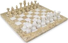 Coral & White Marble Chess Set