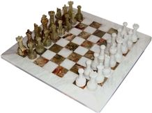Green & White Onyx Chess Set