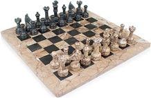 Marina & Black Chess Set, Pink Marble Chess Set