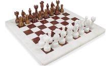 Red Onyx & White Chess Set