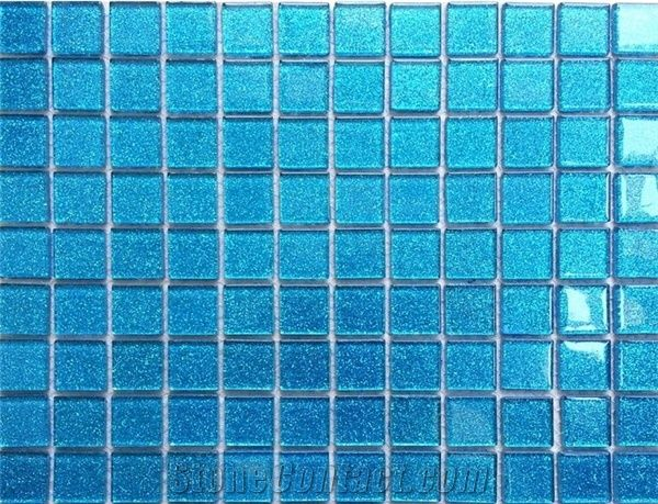 1 Inch Square Light Blue Glass Cheap Mosaic Tiles Cheap