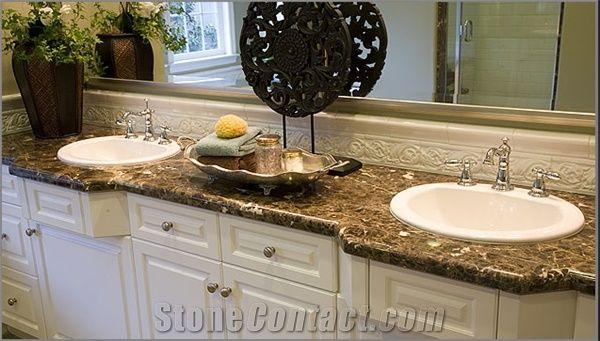 Brown Marble Bathroom Countertop