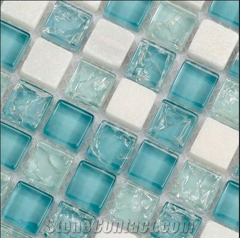 High Class Villa Bathroom Glass Colored, Blue Mosaic Tile Bathroom Mirror