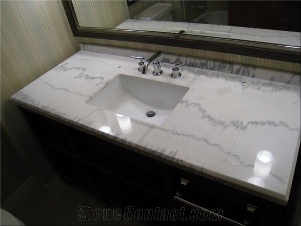 Guangxi White Marble Bath Tops Bathroom Vanity Countertops