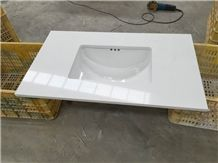 Pure White Engineered Stone Quartz Vanity Tops/Pure White Quartz Stone Bathroom Tops/White Quartz Stone Bathroom Vanity Tops