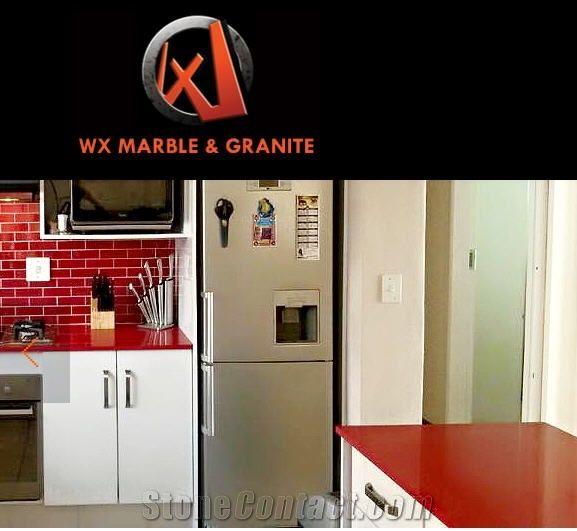 Red Quartz Kitchen Countertop: Caesarstone Red Shimmer Quartz Kitchen Countertops From