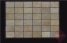 4,8x4,8x1 cm Noche Travertine Tumbled Mosaic