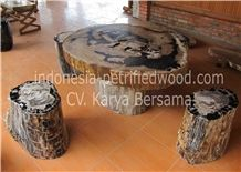 Petrified Wood Coffe Tables Furniture, Beige Tables