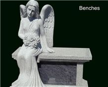 Cremation Bench - Grc Gray Granite Nand Carved Seated Angel with Coral Blue Granite Niche Door