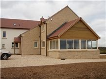 Doulting Stone Rubble Wall House and Conservatory, Beige Limestone Building Stone