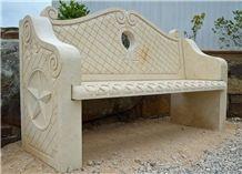 Texas Cream Limestone Hand Carved Bench