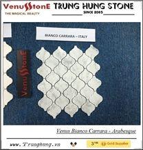 Bianco Carrara Polished Arabesque Pattern Mosaic Tiles, White Marble Mosaic