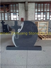 Cross Design Sesame Black Granite Head Mounument